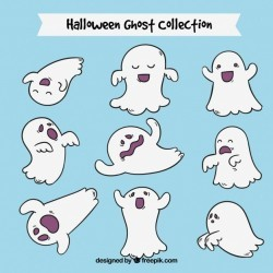 Collection of hand-drawn ghosts