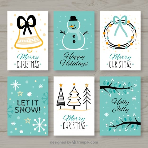 Collection of six christmas cards in white and turquoise