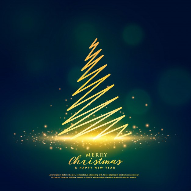 Creative christmas tree design on glowing glitter sparkles