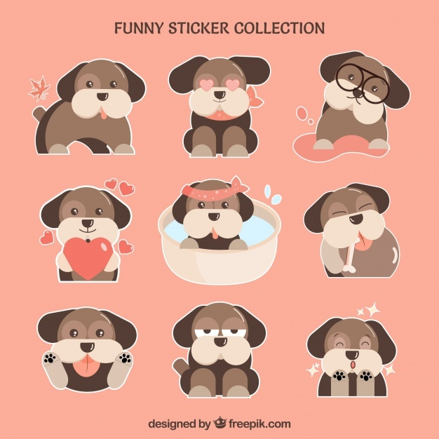 Cute doggy stickers set