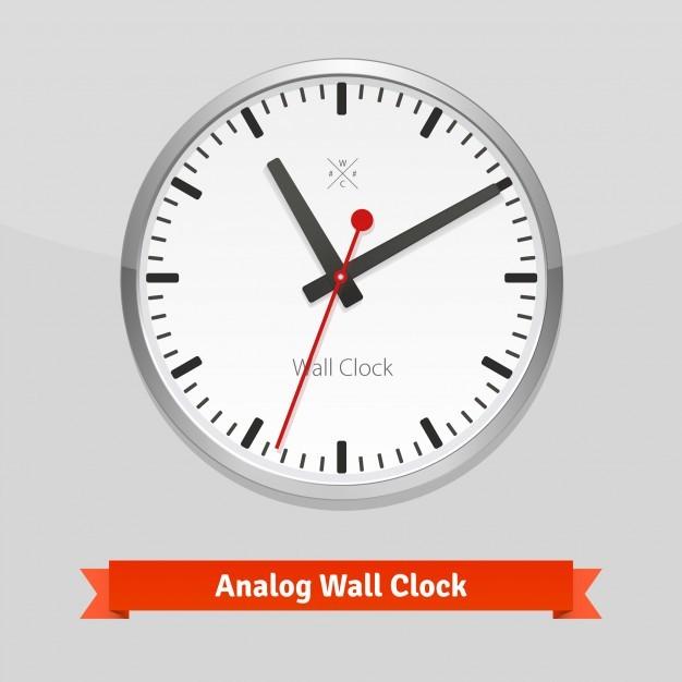 Designer wall clock in a metal casing