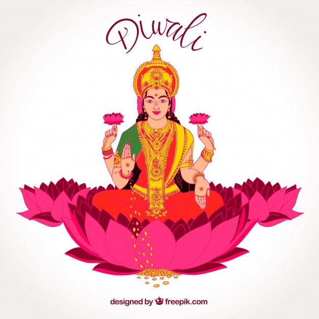 Diwali background with hand drawn goddess