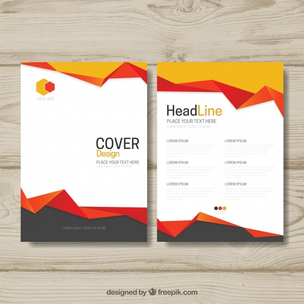 Elegant brochure with abstract shapes