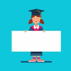 Graduate student girl in mortar board hat
