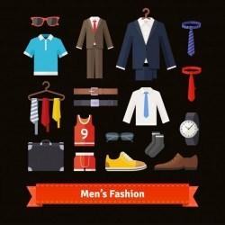 Men fashion colourful flat icon set