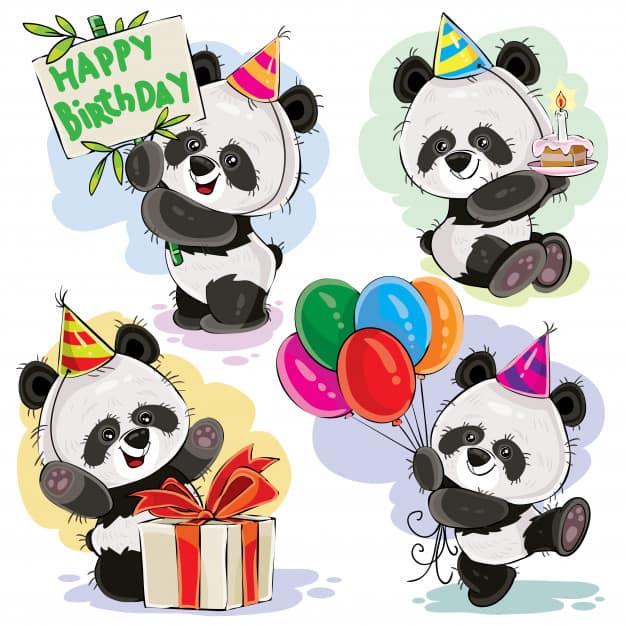Panda bear baby celebrates birthday cartoon vector