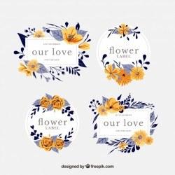 Set of tropical floral labels
