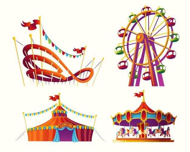 Set of vector cartoon illustrations for an amusement park