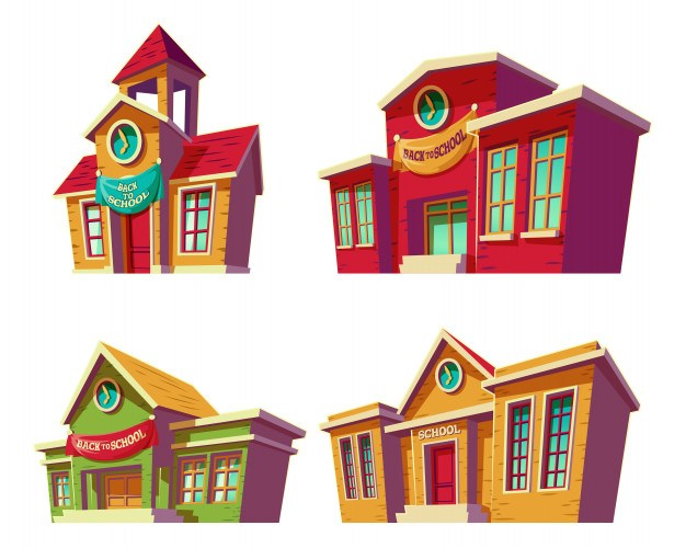 Set of vector illustrations cartoon of various color educational institutions, schools