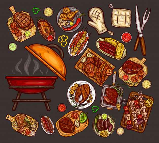 Set of vector illustrations, elements for barbecue