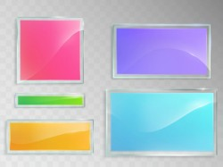 Set of vector illustrations of glass banners isolated on gray background