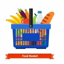 Shopping basket full of healthy organic fresh food