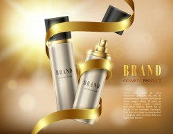 Silver spray bottles in a realistic style on background with golden ribbon and bokeh effect