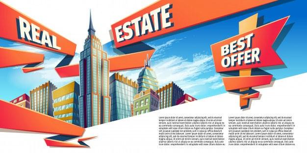 Vector cartoon illustration, banner, urban background with modern big city buildings