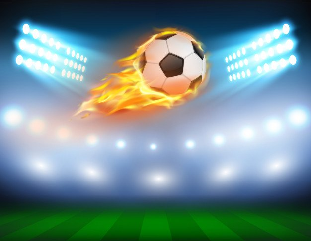 Vector illustration of a football in a fiery flame