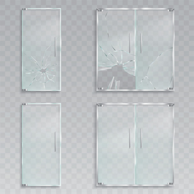 Vector realistic illustrations of a layout of an entrance glass doors with metal handles unscath ...