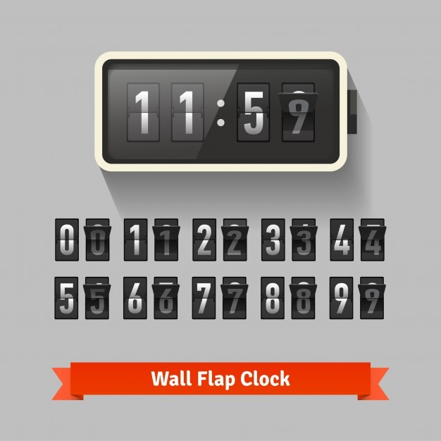 Wall flap clock, number counter template