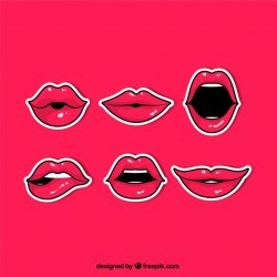 Comic pack of red lips stickers