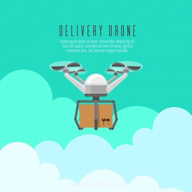 Delivery drone concept with flat design