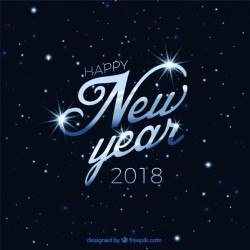 Elegant background of happy new year 2018 with stars