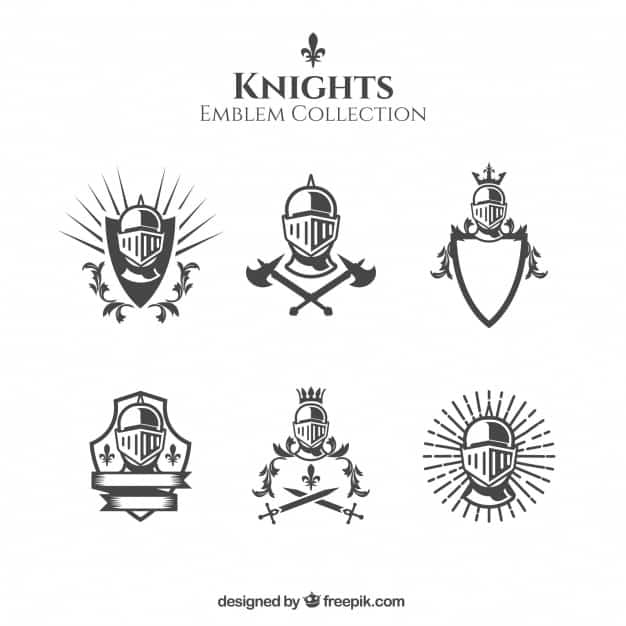 Elegant black and white knight emblems