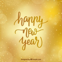 Golden new year background with blurred style