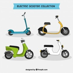 Hand drawn pack of electric scooters