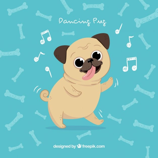 Happy pug dancing with hand drawn style
