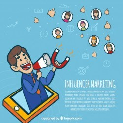 Influencer marketing concept with man holding magnet