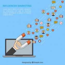 Influencer marketing vector with laptop and magnet