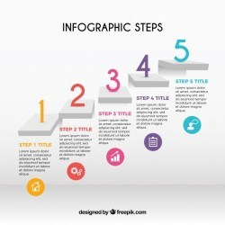 Infographic steps with colorful numbers