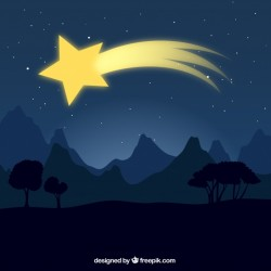 Landscape background with shooting star