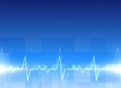 Medical electrocardiogram background in blue color