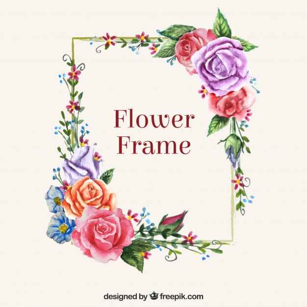 Modern frame with colorful flowers