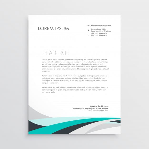 Modern letterhead vector design template with blue wavy shape