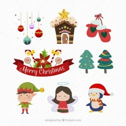 Modern pack of christmas accesories