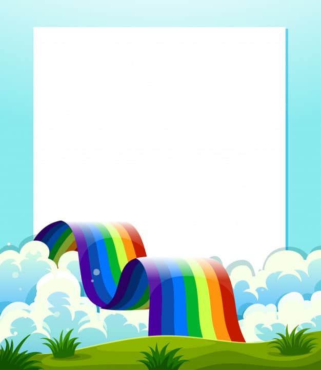 An empty paper template with a rainbow at the bottom