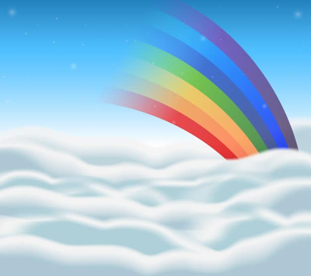 Background design with rainbow in the sky