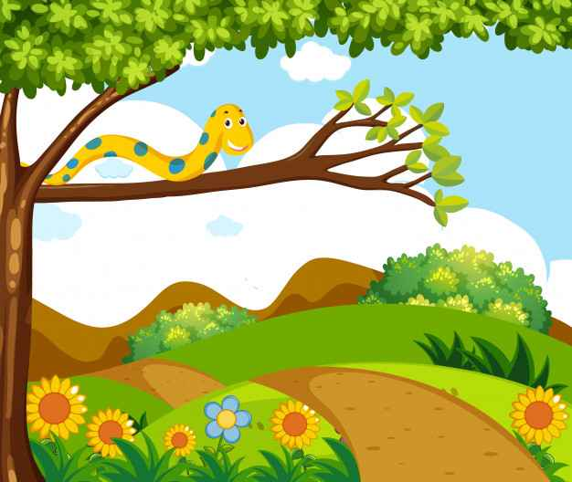 Background scene with yellow snake on branch