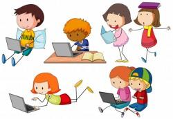 Children working on computer laptop