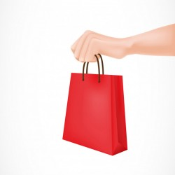 Hand Holding Red Paper Bag