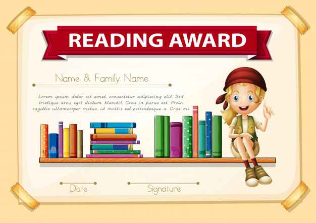 Reading award with girl and books