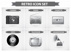 Retro icon set in grayscale