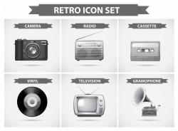Retro icon set in grayscale