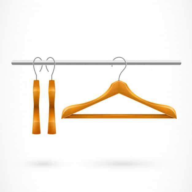 Three Hangers on Clothes Rail