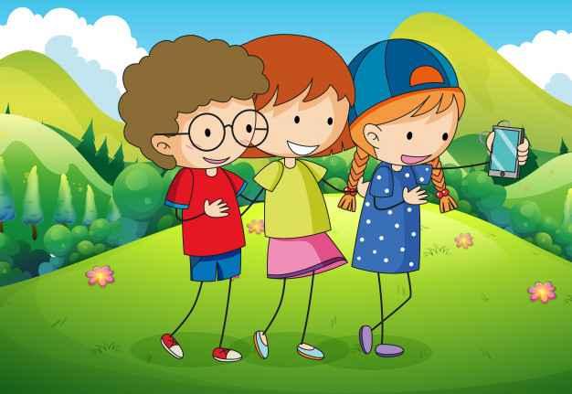 Three kids taking selfie in the park