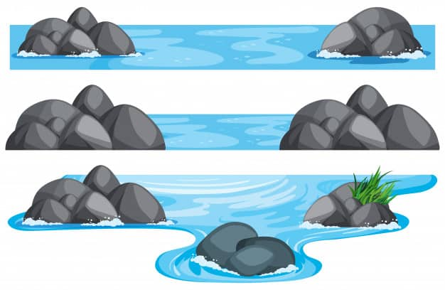 Three scenes of river and lake