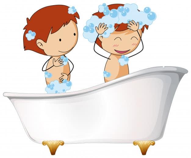 Two kids in bathtub
