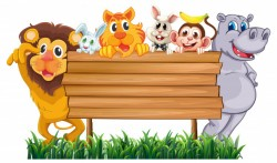 Wooden sign with many animals
