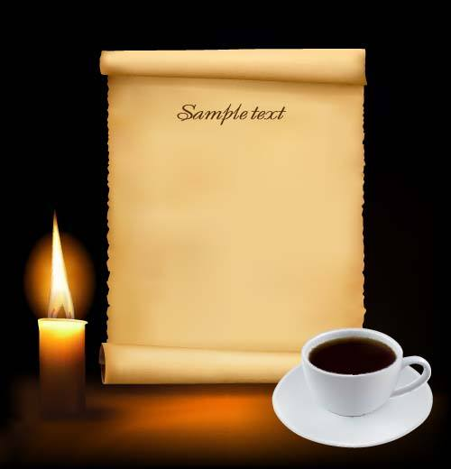 Old paper and candle with coffee vector background